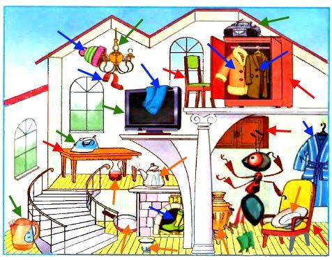 Дома у Муравьишки небольшой беспорядок. На этой картинке 5 предметов мебели, 5 электроприборов, 7 предметов одежды и обуви, 6 предметов посуды. Найдите их.