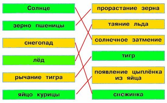 Отметьте (закрасьте табличку) зелёным цветом объекты природы, жёлтым цветом — явления природы.