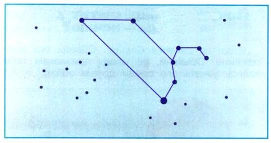 Соедини линиями точки на рисунке так, чтобы получилось созвездие Льва. Проверь себя по учебнику.