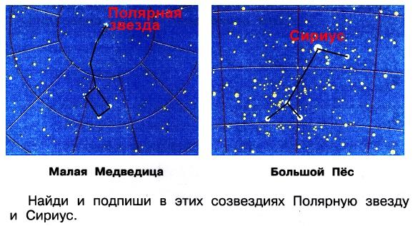 С помощью иллюстраций в учебнике соедини звезды так, чтобы получились фигуры, по которым мы узнаём созвездия.